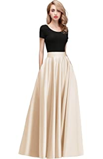c3e1bfcb3a02 Honey Qiao Women's Satin Long Floor Length High Waist Fomal Prom Party  Skirts with Pockets,