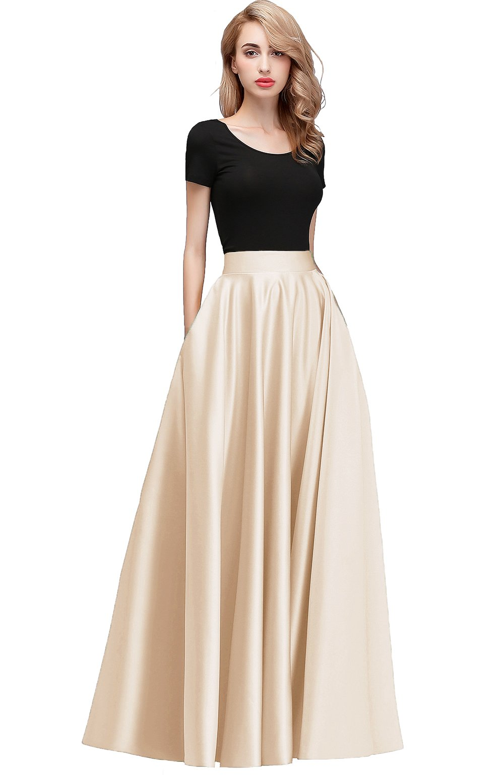 honey qiao Women Satin Skirts Long Floor Length High Waist Fomal Prom Party Skirts with Pockets Back Zipper Closure