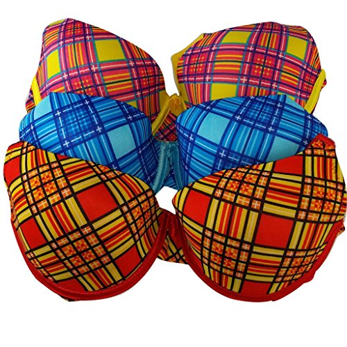- Women's Mad for Plaid 3 Pack Molded Cup Bra set in vibrant colors Underwire/Adjustable Straps-36D-Red/Plaid