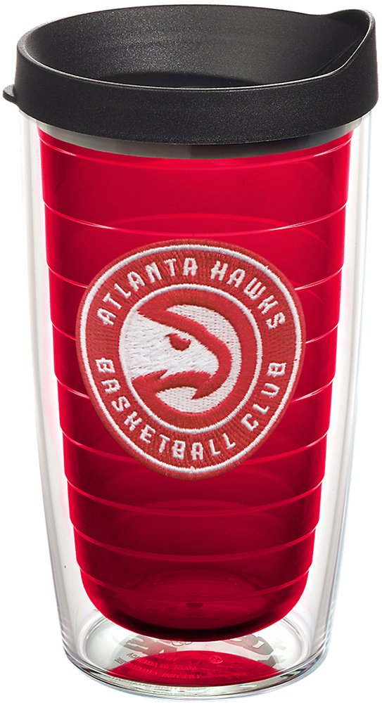 Tervis 1242271 NBA Atlanta Hawks Circle Logo Insulated Tumbler with Emblem and Black Lid, 16oz, Red