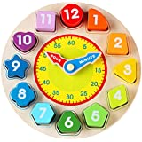Toyssa Wooden Teaching Shape Sorting Clock Educational Toys Games Kids 3 Years Old