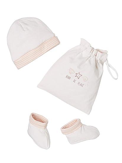 8c8b392dc1065 VERTBAUDET Ensemble bonnet et chaussons bébé naissance avec sac Rose  NAISSANCE 1M - 50