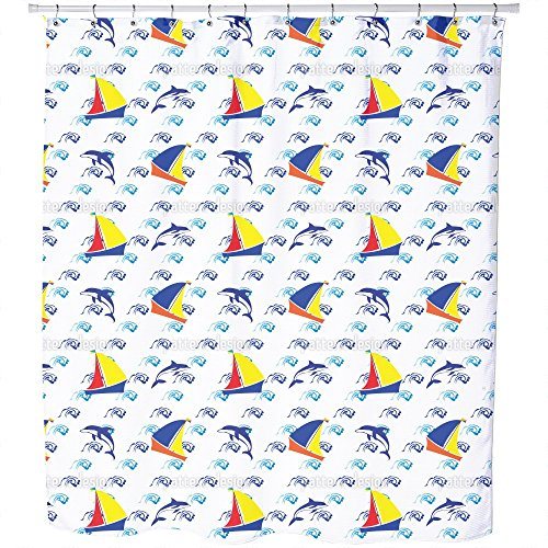 Uneekee Jumping Dolphins Shower Curtain: Large Waterproof Luxurious Bathroom Design Woven Fabric by uneekee