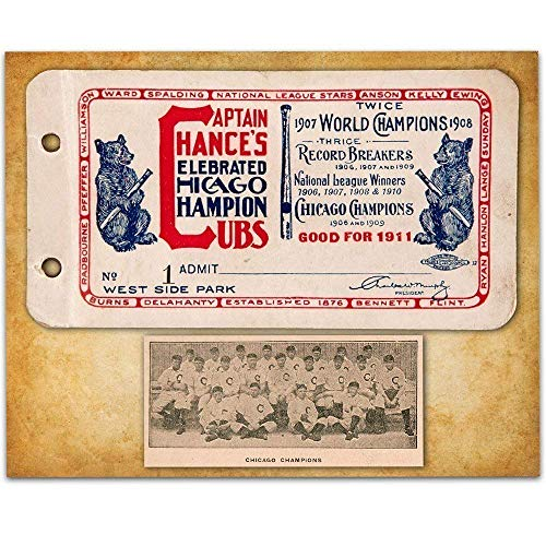 - 1911 Chicago Champions Season Pass Book Cover - 11x14 Unframed Art Print - Great Sports Bar Decor and Gift Under $15 for Chicago Cubs Fans