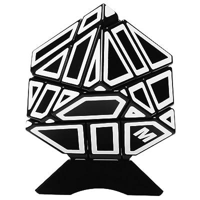 Emorefun Qin Soomth Puzzle Cube Ahueca hacia fuera la etiqueta engomada blanca 3x3 Ghost Cube Black (Titular de la base incluido): Hogar