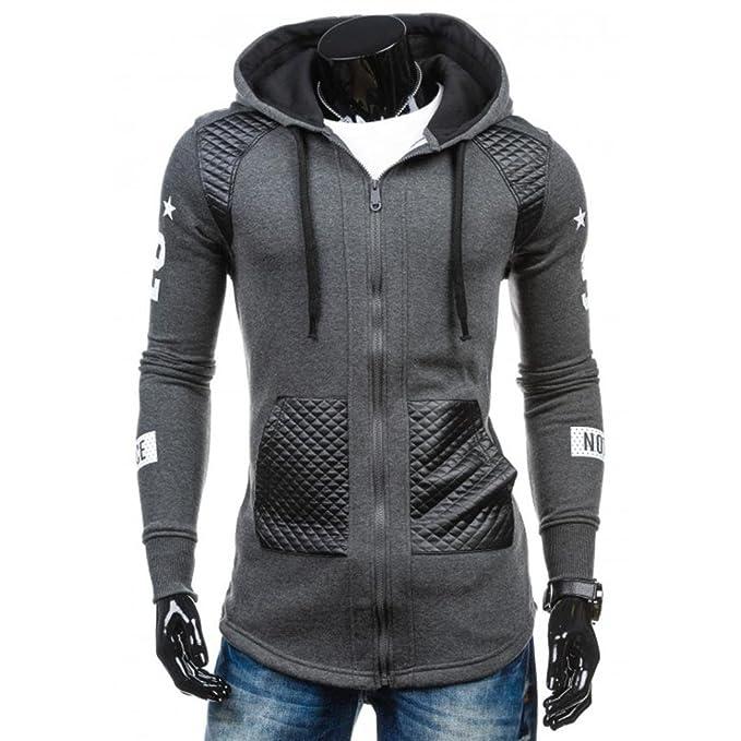 ... Hombres de Cuero Invierno cálido Sudadera con Capucha Abrigo Chaqueta Outwear suéter con Cremallera Chaqueta de Punto: Amazon.es: Ropa y accesorios