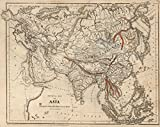 School Atlas | 1849 Physical Map Of Asia | Historic Antique Vintage Reprint