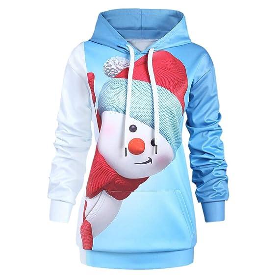 OHQ Weihnachten Damen Hoodie Kapuzenpullover Pullover Weihnachts Sweatshirt Weihnachtshoodie Weihnachtspullover Langarm Christmas Oberteil