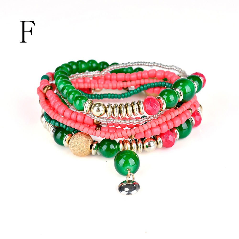 Dream_Mimi Fashion 1 Set Stretch Acrylic Beaded Bohemian Multilayer Lady Bracelet Bangle