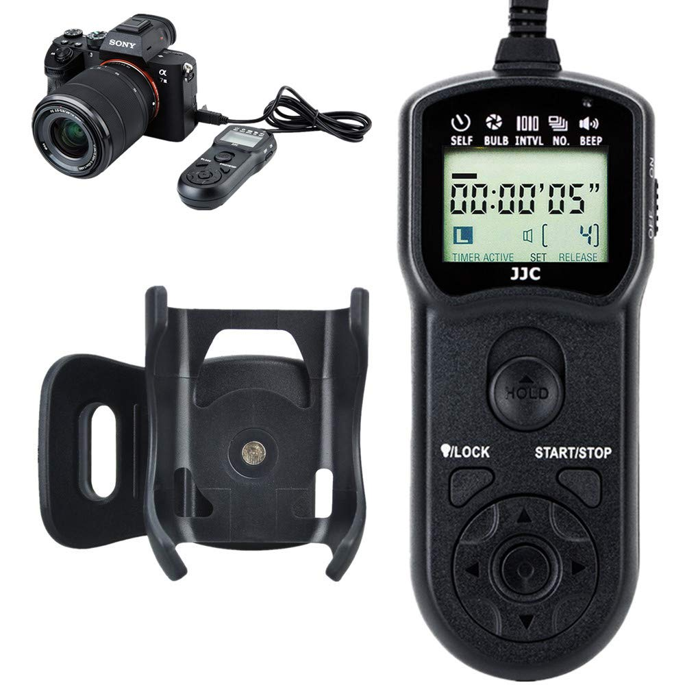 JJC Wired Timer Remote Shutter Release Control & Clip Holder for Sony A7III A7RIII A6000 A6300 A6500 A9 A7II A7RII A7SII A7 A7R A7S RX100 VI V IV III II RX10 III II A99II A77II replaces Sony RM-SPR1