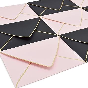 Amazon.com: Sobres de color rosa con borde de oro rosa A7 5 ...