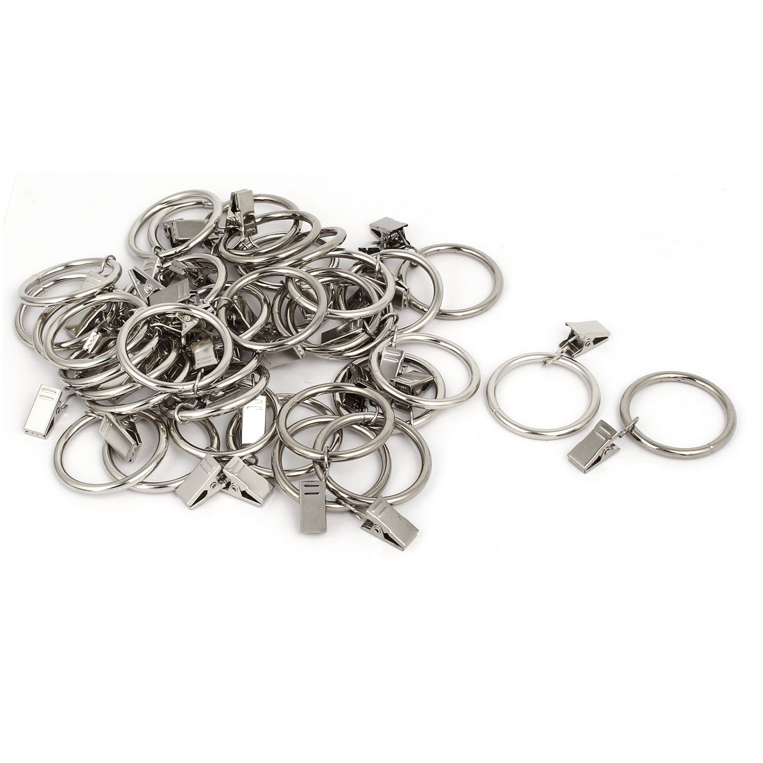 uxcell 36mm Inner Dia Stainless Steel Curtain Drapery Hanging Rings Clips 40 Sets a16123100ux0854