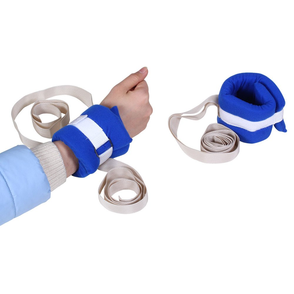 Medical Restraints Patient Hospital Bed Limb Holders for Hands or Feet Universal Constraints Control Quick Release (1 Pair - Blue)