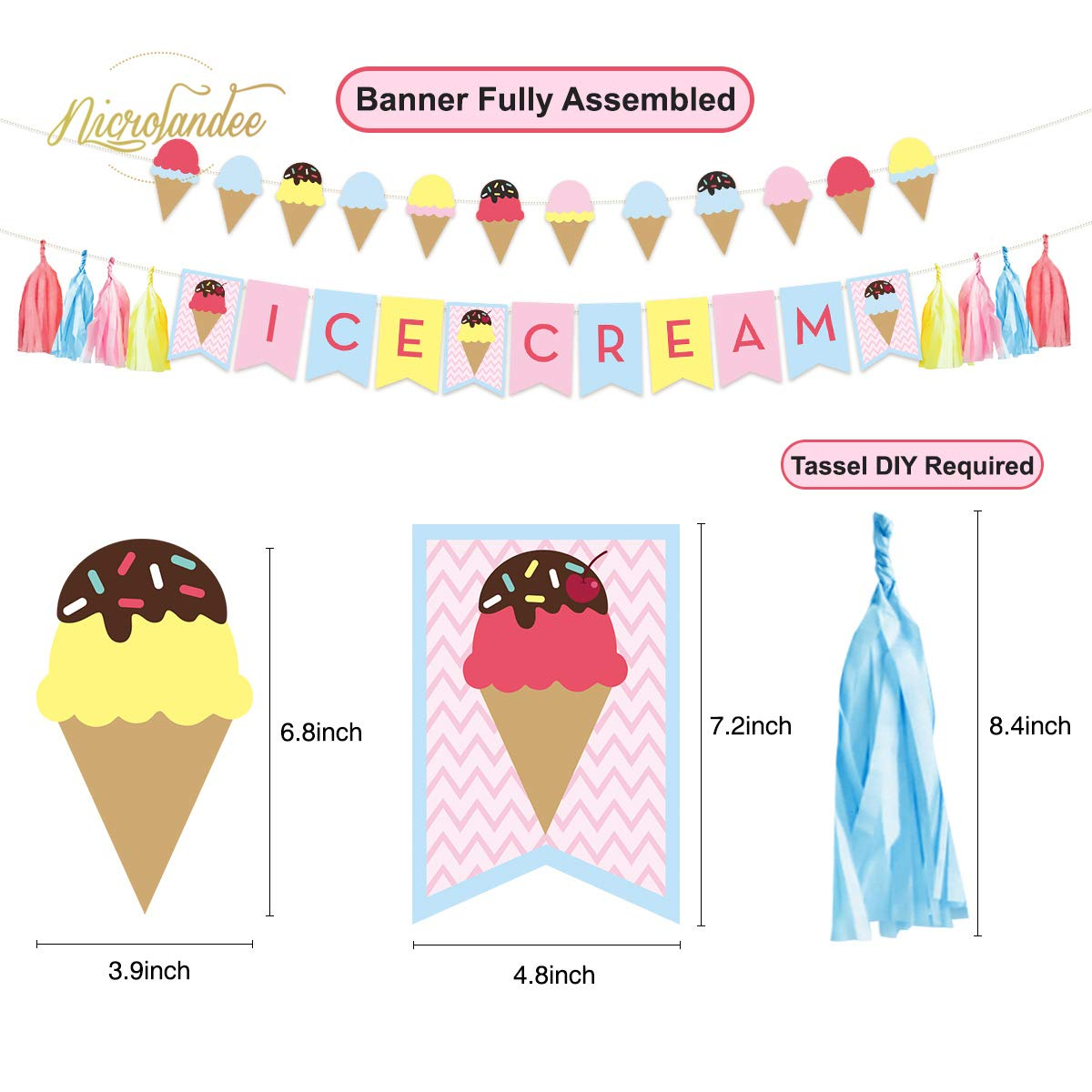 Popsicle Party Decor with Glitter Banner Paper Lantern Honeycomb Ball Balloon for Kids Party Baby Shower Nursery Summer Luau Party Decor NICROLANDEE Ice Cream Party Decoration