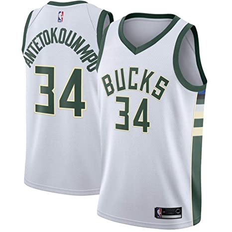 6d8595a55f3 Jordan Men's Milwaukee Bucks #34 Giannis Antetokounmpo White NBA Swingman  Jersey - Association Edition (