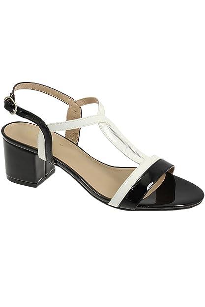 08bc27d1b5 Fantasia Boutique JLE063 Clarke Ladies Padded Smart Patent Strappy Fashion Block  Heel Sandals [Black,