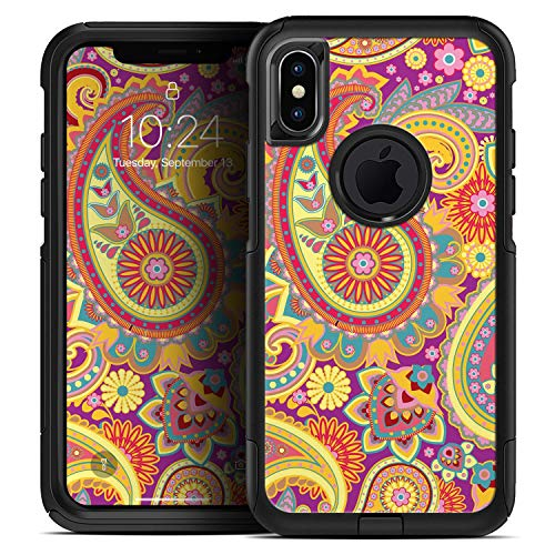 Neon Orange Paisley Pattern - Skin Decal Kit for The iPhone 6 + Plus or iPhone 6s + Plus OtterBox Symmetry - Plus 6 Neon Iphone Orange Case