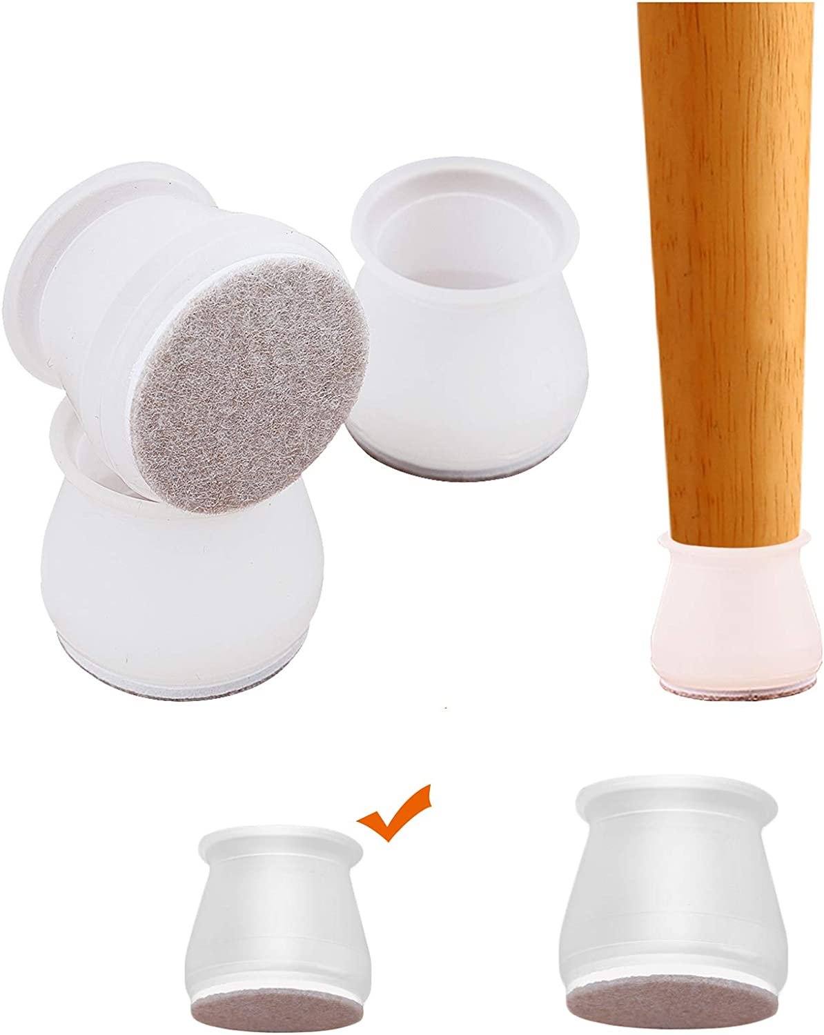 Yoaokiy Silicone Chair Leg Floor Protectors - Small Size(Fit 0.75-0.98inch) - 32Pcs Furniture Silicon Protection Cover with Felt Pads - Elastic Furniture Chair Leg Caps for Round Square Furniture feet