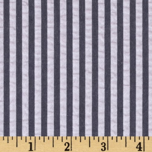(Robert Kaufman Kaufman Breakers Seersucker Stripe Navy Fabric By The Yard)