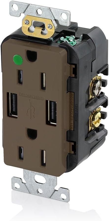 Leviton T5632-HG 15-Amp Hospital Grade USB Charger/Tamper-Resistant Duplex Receptacle, Brown