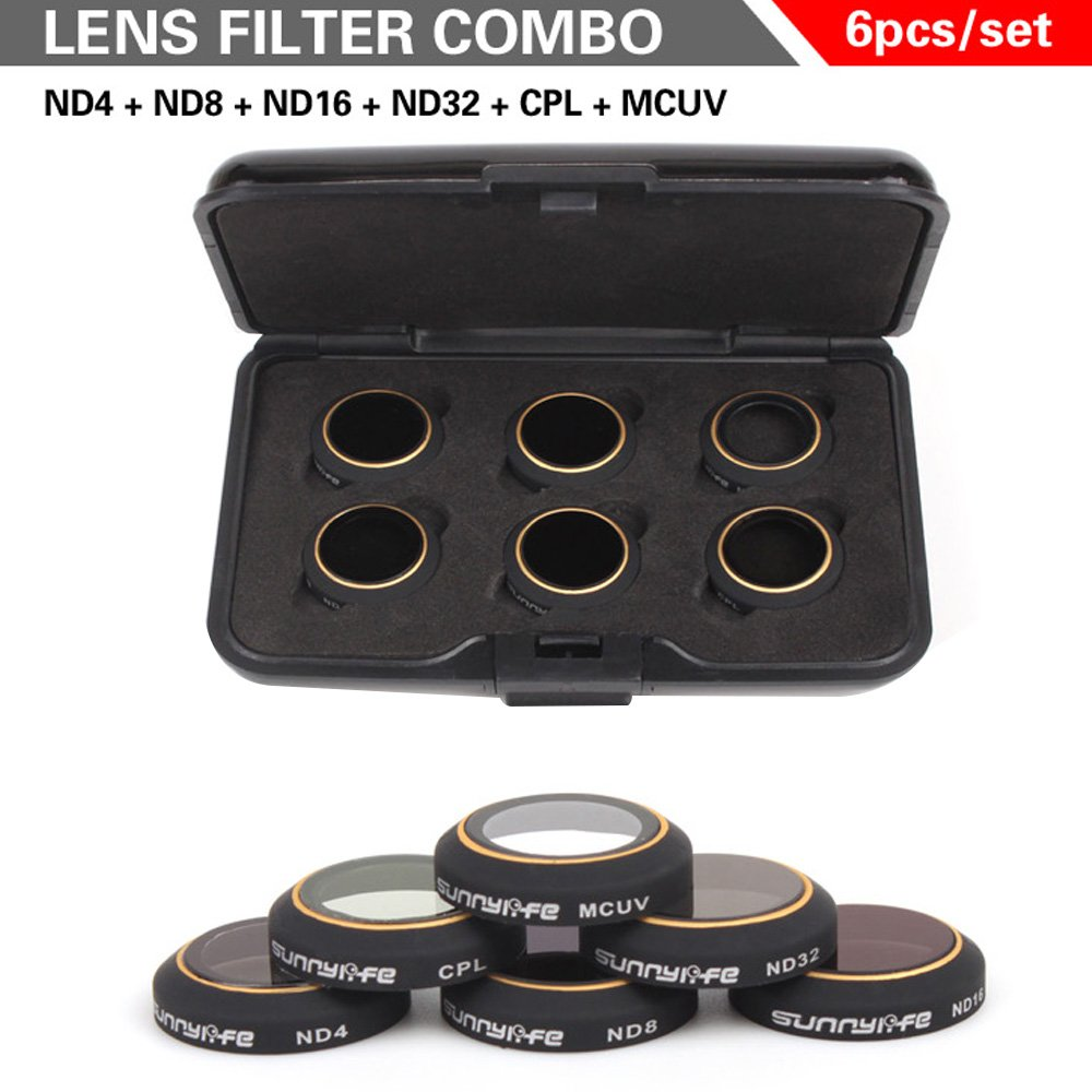 Kamera Filter Linse Set Objektiv Filter für DJI Mavic Pro Pro Pro Drone von TIME4DEALS (6 Kits: ND4 + ND8 + ND16 + ND32 + CPL + MCUV) 2738b0