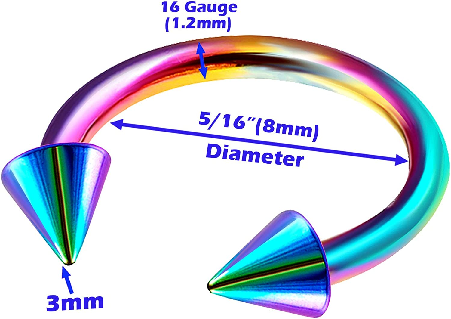 4Pcs Rainbow Anodized 16g 8mm 10mm Horseshoe Circular Barbell Piercing Jewelry Nose Septum Cartilage Lip Rook 3mm Cone M2736