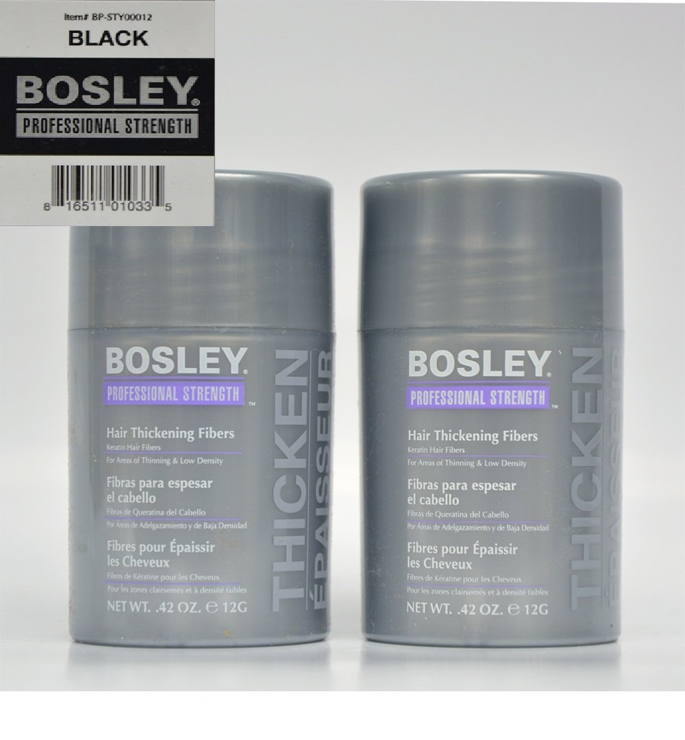 Bosley Hair Thickening Fibers Keratin Hair Fibers .42 oz (Black) 2 Pack