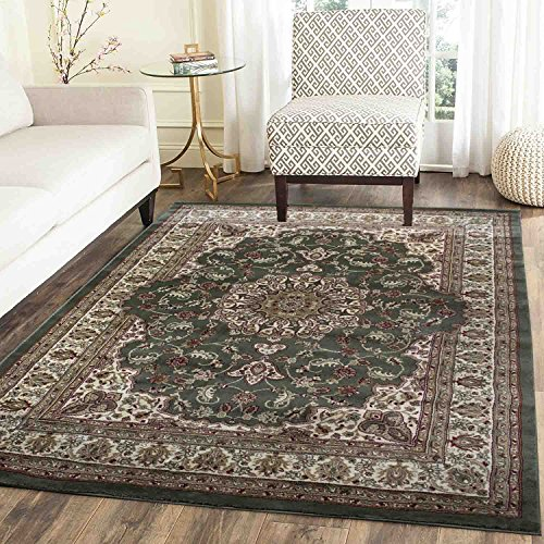 Green Persian Floral Oriental Formal Traditional Area Rug 8x10 Easy to Clean Stain Fade Resistant Shed Free Modern Contemporary Transitional Soft Living Dining Room Rug (Empire 209 (Formal Dining Room Furniture)