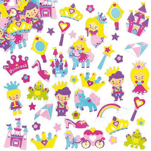 Baker Ross Princess Foam Stickers Self-Adhesive Shapes 30 Assorted Designs Kid's Craft Embellishments for Decorating, Scrapbooking & Card Making (Pack of 120)