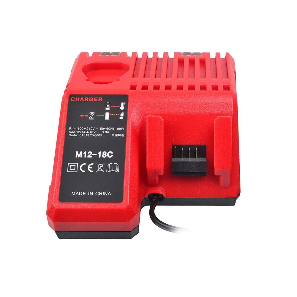 KKmoon M12-18C Cargador de Bater/ía de Iones de Litio para Milwaukee 12 V 14.4V 18V C1418C 48-11-1815//1828//1840 M18 M14 M12 Bater/ía de Litio