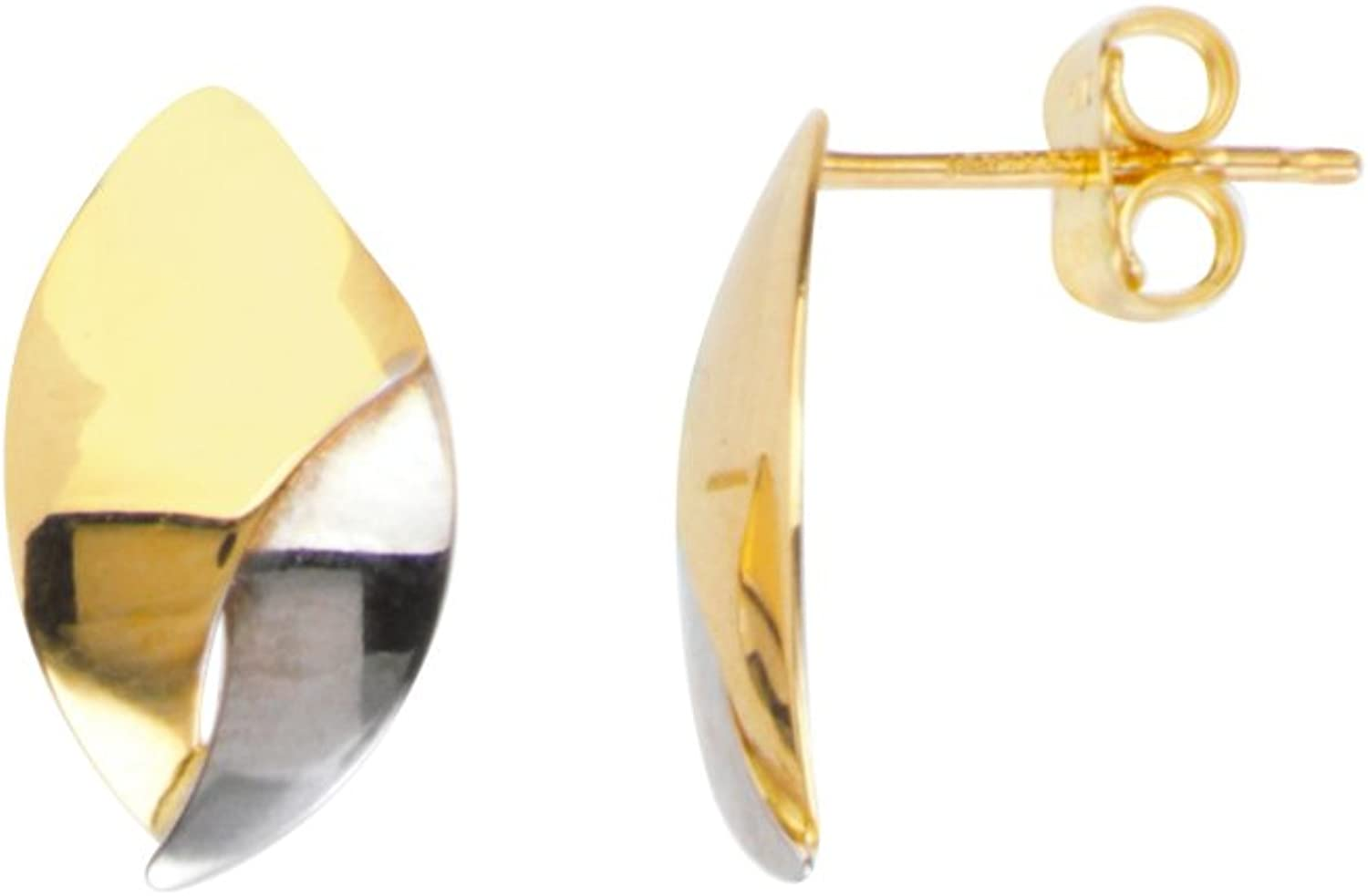 Earring Chest 14K White and Yellow Gold Two-tone Overlaping Plates Leaf Shaped Stud Earrings
