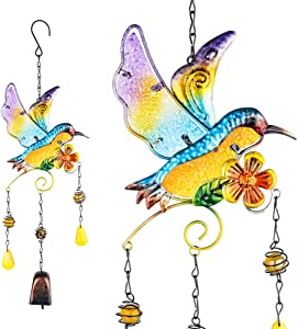 PROMISE YO Hummingbird Wind Chimes Bells, Outdoor Windchimes Indoor Stained Glass Wind Chime Metal Hummingbird Suncatcher for Window, Garden, Yard, Patio, Lawn Decoration (Hummingbird Copper Bell)