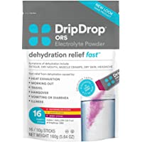 DripDrop ORS – Patented Electrolyte Powder for Dehydration Relief Fast - For Workout, Hangover, Illness, Sweating & Travel Recovery - Watermelon, Berry, Lemon Variety Pack - 16 count (5.64 ounce)