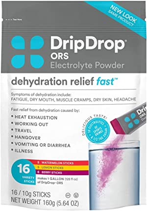 DripDrop ORS - Electrolyte Powder For Dehydration Relief Fast - For Workout, Hangover, Illness, & Travel Recovery - Watermelon, Berry, Lemon Variety Pack - 16 x 8oz Servings