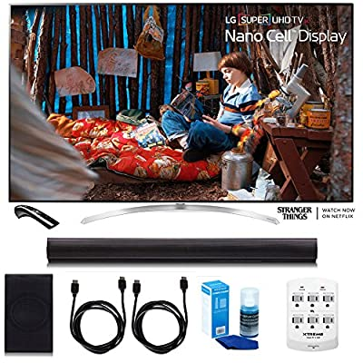 """LG 65SJ9500 65"""" Super UHD 4K HDR Smart LED TV w/Sound Bar Bundle Includes, 4.1ch Wi-Fi Sound Bar w Wireless Subwoofer + 2 x 6ft HDMI Cable + Universal Screen Cleaner + 6 Outlet Wall Tap w/2 USB Ports"""