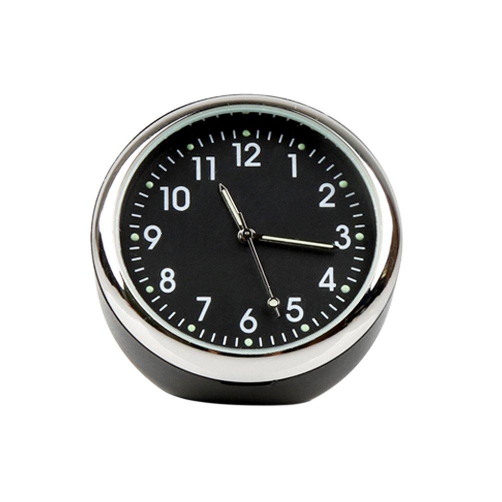 Mini Vehicle Clock Decoration Black, Point Luminous idain Car Dashboard Clock