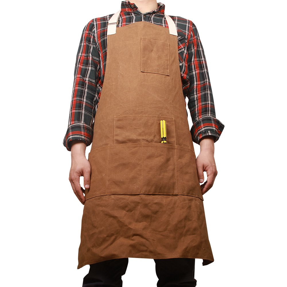 Waxed Canvas Work Shop Apron Bib with Six Pockets Waterproof Thick Heavy Duty Utility Tool Aprons for Women Men WQ05