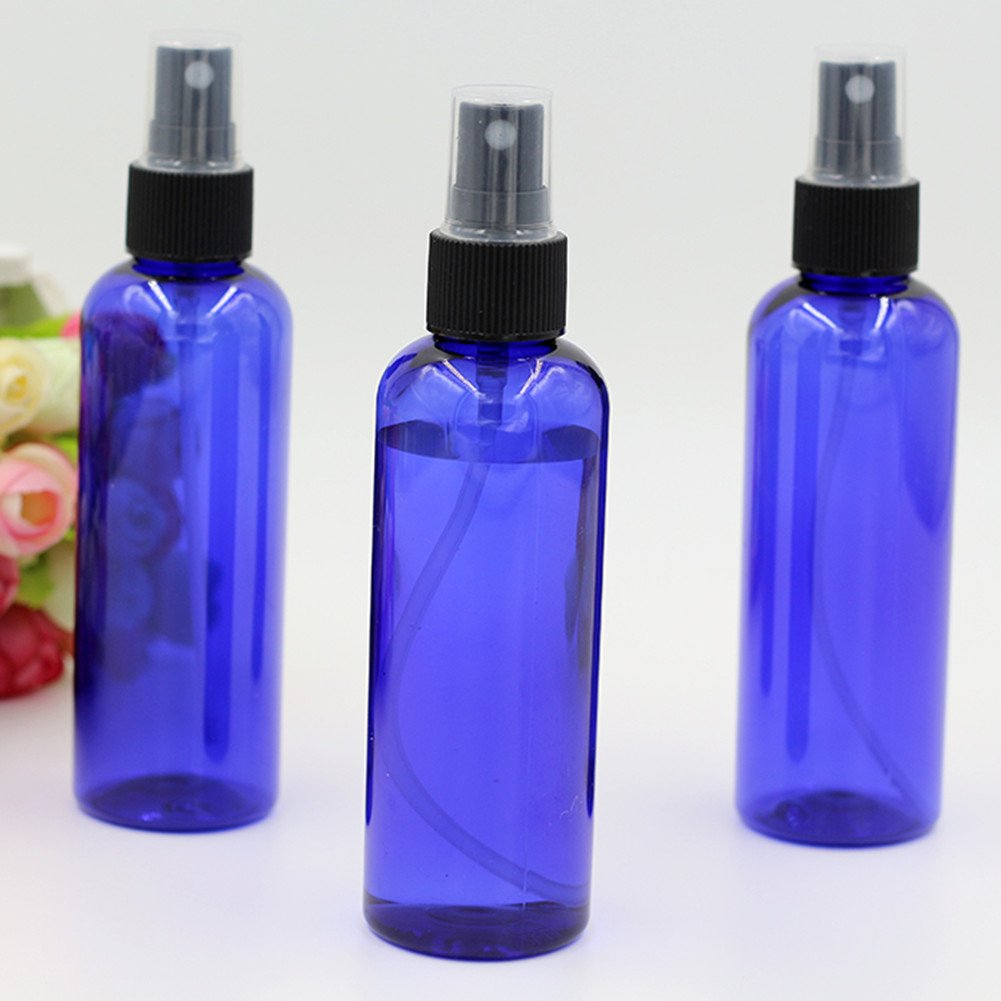 Empty Plastic Spray Bottle 100ML – 5 Piece 3.4oz Fine Mist Sprayer by Auger – Reusable Dark Colored Bottles for Essential Oil, Aromatherapy, Cleaning Products, Travel and Any Purpose
