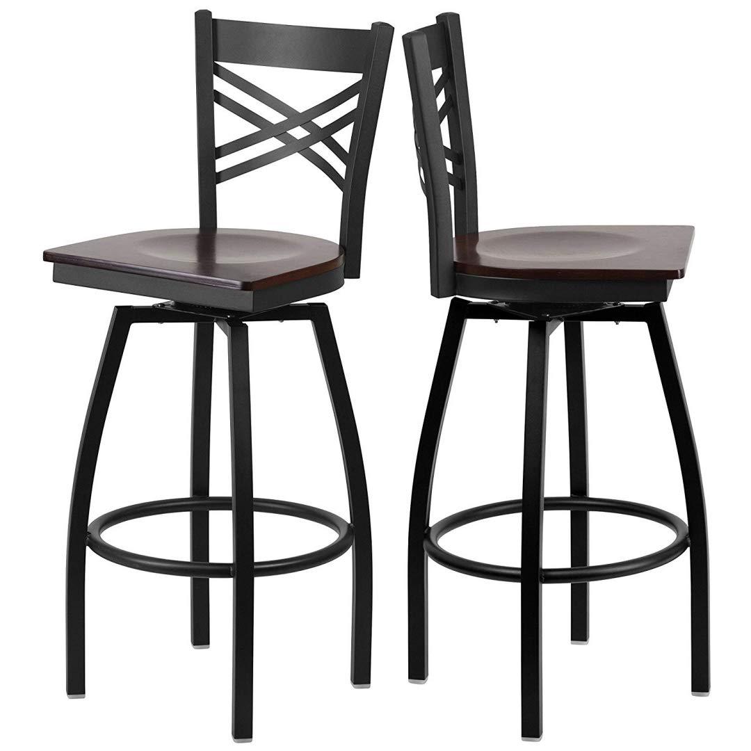 Modern style metal dining bar stools cross back design 360 degree swivel seat lounge diner restaurant commercial black powder coated frame home office