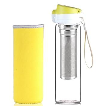 Reeho® 510 ml Botella de agua con funda de protección de neopreno y correa, botellas de deporte para senderismo, gimnasio, running. Cristal de ...