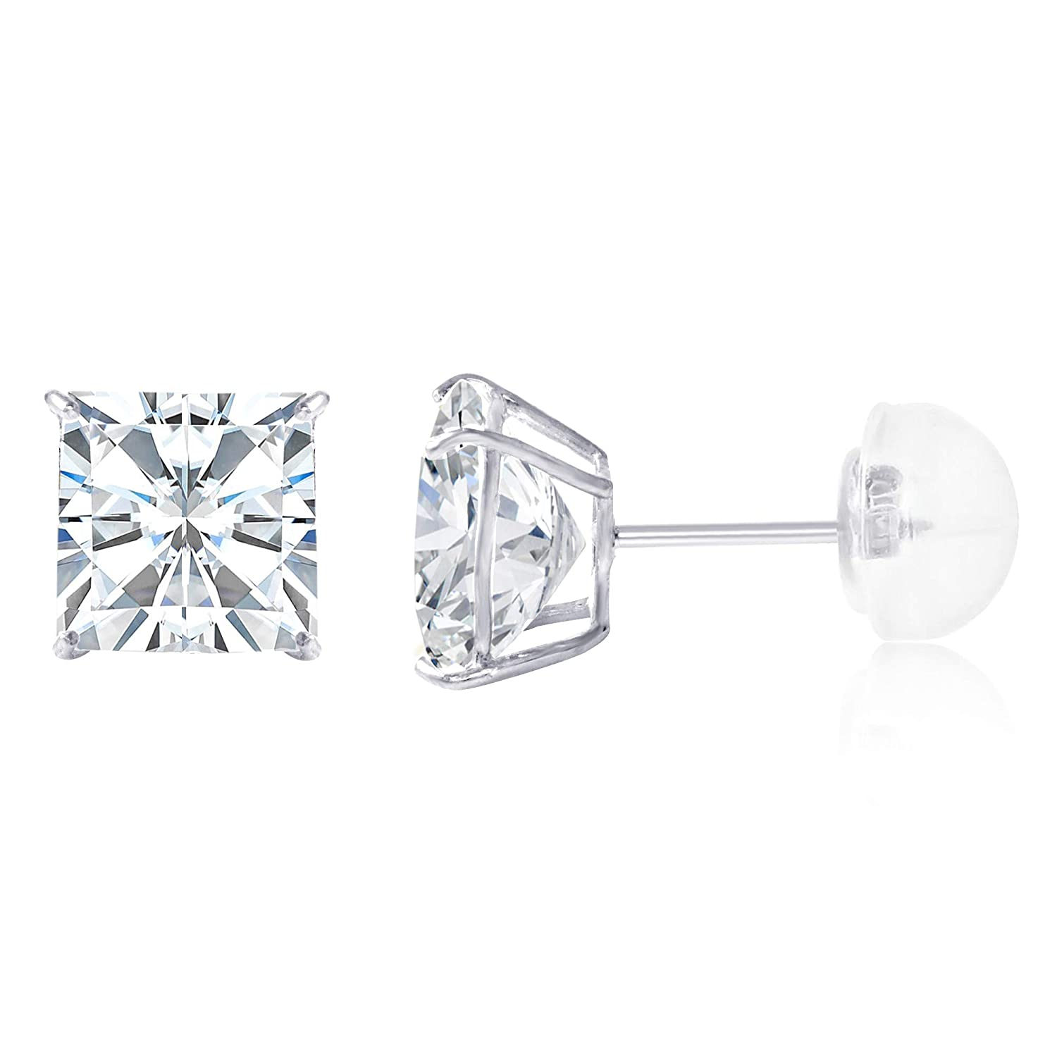 14K Yellow OR White Gold Square Solitaire Princess Cut Cubic Zirconia CZ Stud Push Back Earrings in Various Sizes Ioka