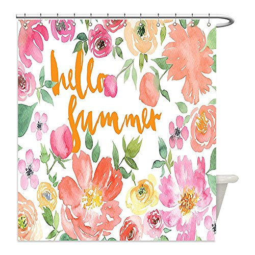 Current Event Costume Ideas (Liguo88 Custom Waterproof Bathroom Shower Curtain Polyester Summer Decor Collection Flower Rose Wreath Classic Frame Border with Hello Summer Note Congratulation Event Image Pink Coral Green Decorati)