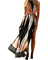 TrendsGal Women's Bohemian O-Collar Cut Out Printed High Split Maxi Beach Dress