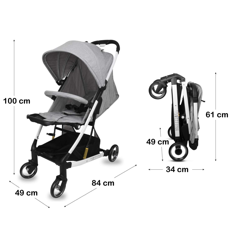 5-Punkt-Gurt Einfach zu Transportierien Auseinander- und Zusammenzuklappen Geburt - 15 kg - Lenkstab Bequem und Verstellbar f/ür Baby und Kinder Schutzb/ügel Kompakter Kinderwagen buggy