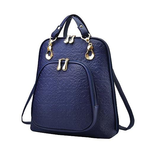 YAANCUN Mujeres Pu Cuero Backpack Mochilas Escolares Mochila Escolar Casual Bolsa Viaje Moda Cremallera Azul Oscuro: Amazon.es: Zapatos y complementos