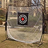 Galileo Golf Training net 7' X 7' Baseball Training Net Steel pole & Fiberglass pole Frame Softball Net/Practice Hitting, Pitching Batting and Catching Net With Tatget and carry bag