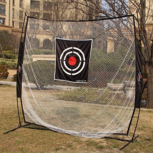 Galileo Golf Training net 7' X 7' Baseball Training Net Steel pole & Fiberglass pole Frame Softball Net/Practice Hitting, Pitching Batting and Catching Net With Tatget and carry bag by Galileo