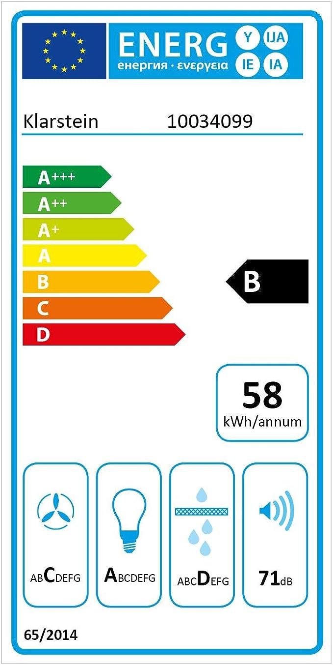 Klarstein Zola 60 extractor de humos - 60 cm, extracción: 610 m³/h, 3 niveles de potencia, control táctil, iluminación LED, extracción y ventilación, clase B, extractor de pared, acero, vidrio, negro: Amazon.es: Hogar