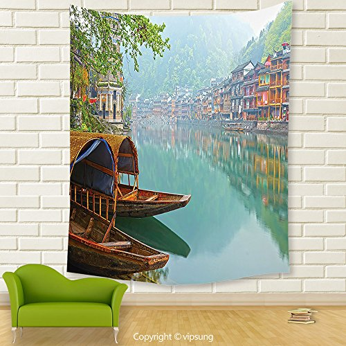 Vipsung House Decor Tapestry_Farm House Decor Old Chinese Suburbs Lake Canal With Wood Boats Foggy Asian Eastern Rural Scene Multi_Wall Hanging For Bedroom Living Room (Canal Panda Halloween)