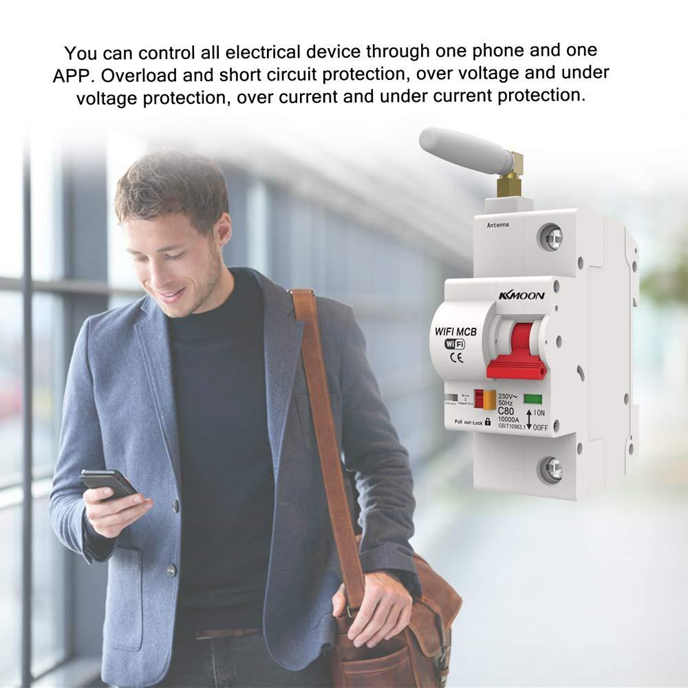 KKmoon Interruptor de circuito WiFi 1P Disyuntor inteligente Interruptor diferencial con funci/ón de monitoreo de energ/ía Funciona con Alexa y Google Home de seis tipos